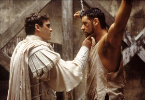 Commodus before he stabs Maximus in the back