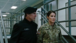 Cobie Smulders listening to acting advice from Brigadier General Tom Cruise.