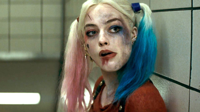 Margot Robbie as Harley Quinn, using that M.D.