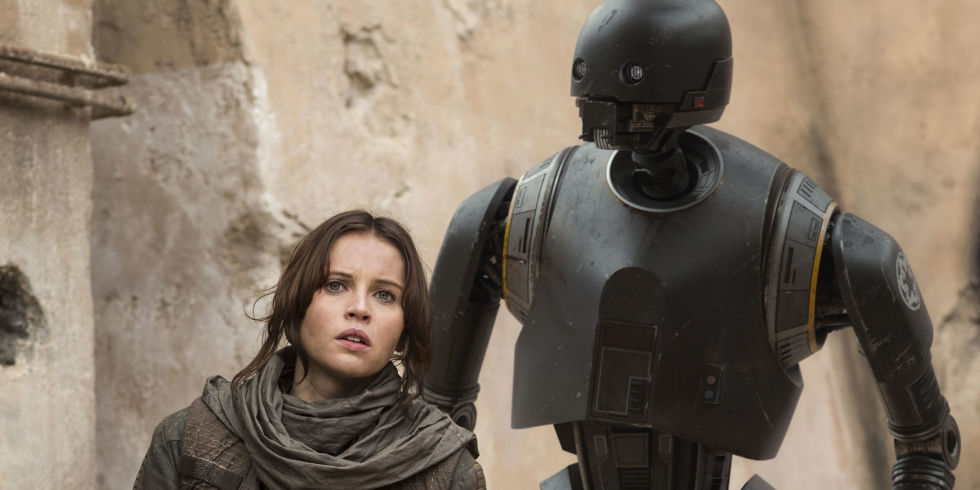 Jyn, like all the other characters, ignoring K-2SO.