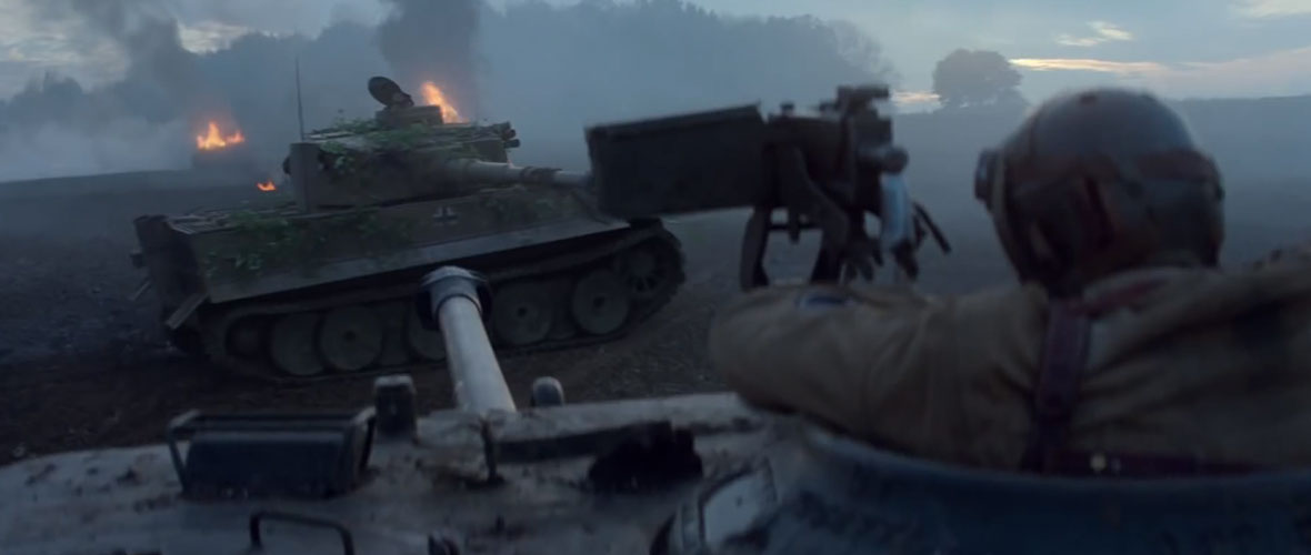 Fury battling a German Tiger