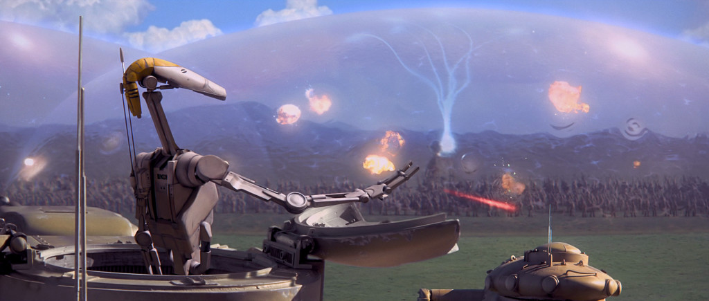 Jungians fighting droids on the plains of Naboo.